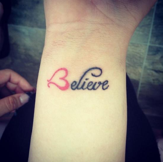 Надпись «Believe» («Верь»). тату, татуировки