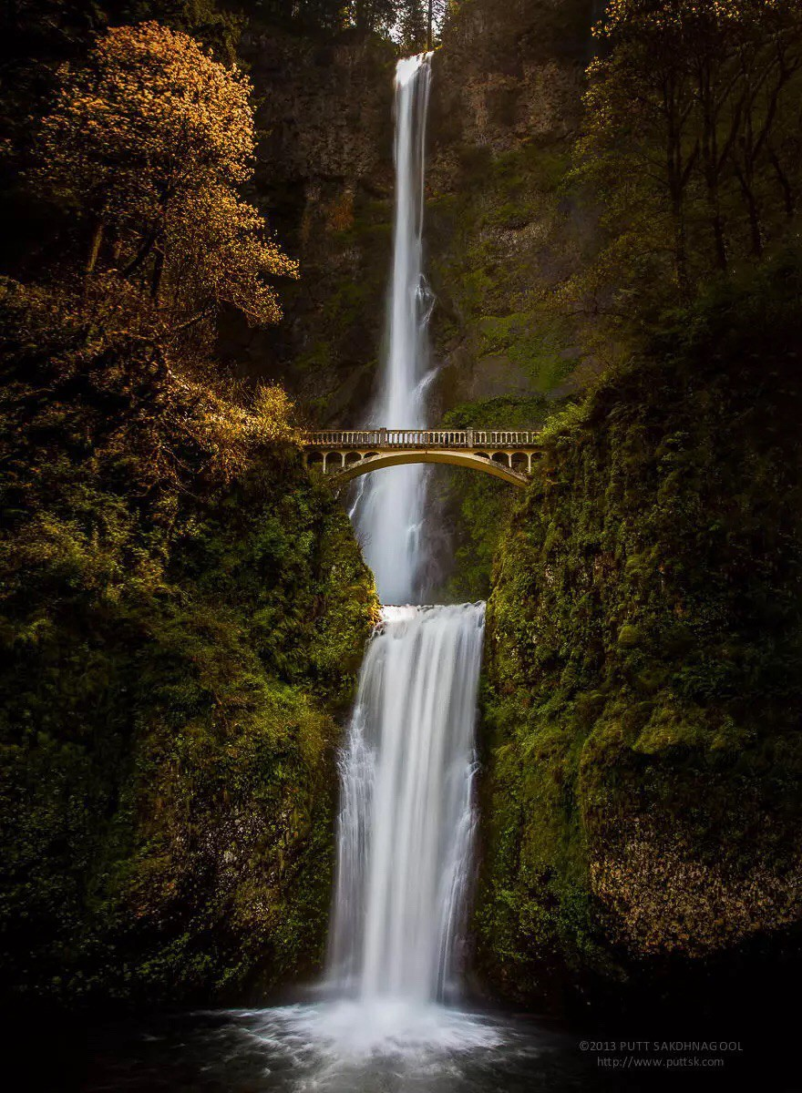 Мост у водопада Малтномах, Орегон, США в мире, мост