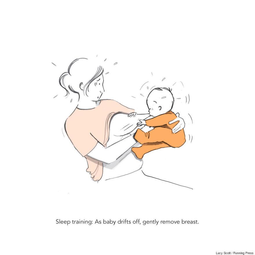 1. Тренировка во сне: когда ребёнок начнёт клевать носом, попытайтесь убрать грудь дети, комиксы, материнство, прикол, родители