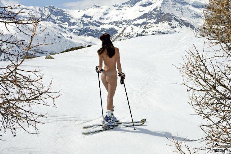 Мастурбирует на лыжном курорте