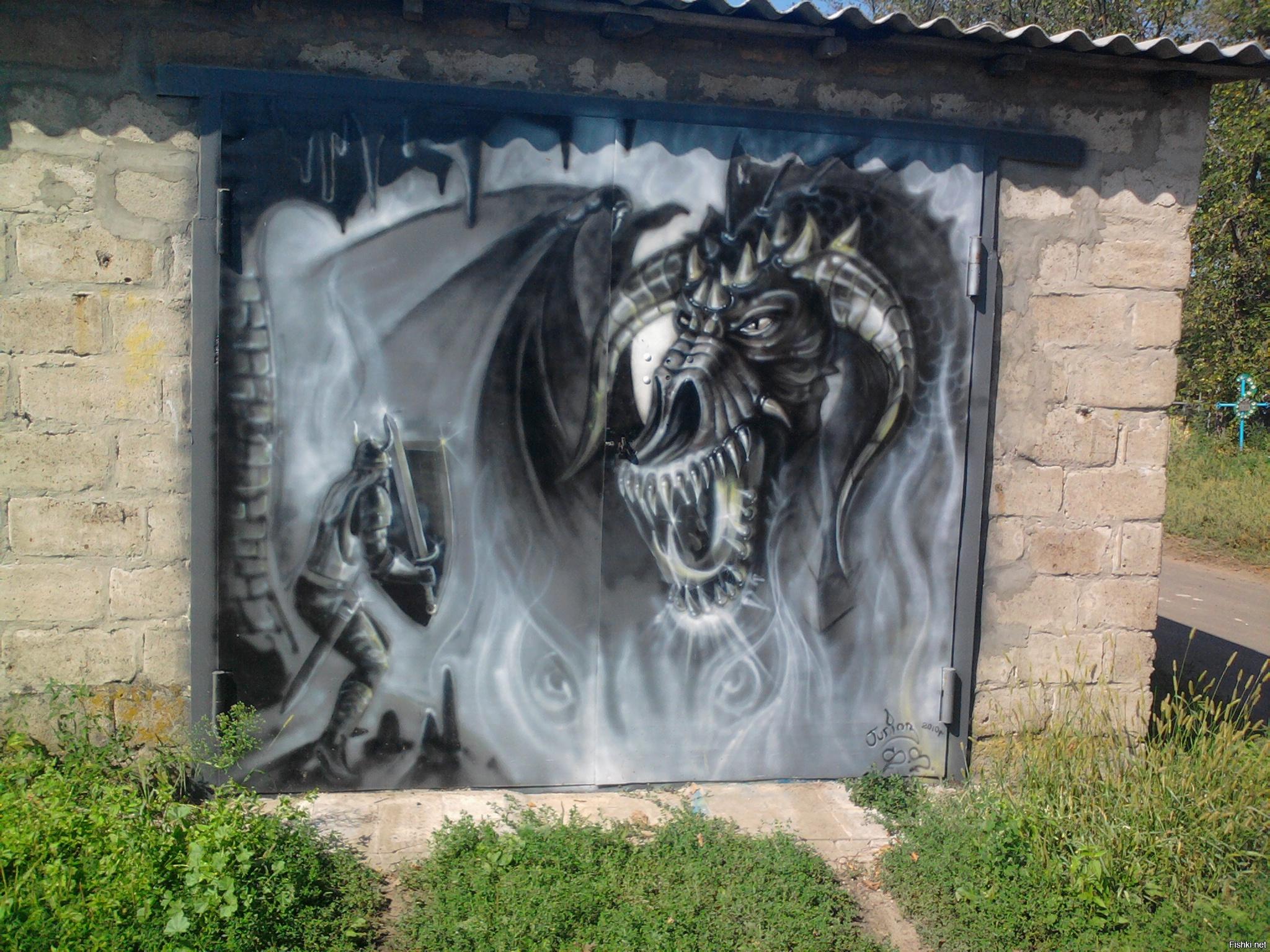 Рисунки на воротах гаража своими руками фото